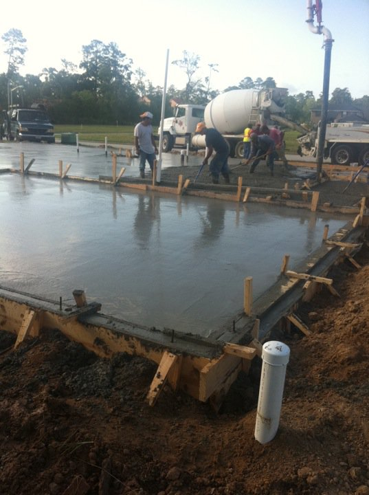 Pouring concrete June 2011