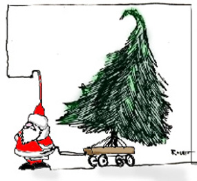 Santa and tree in wagon