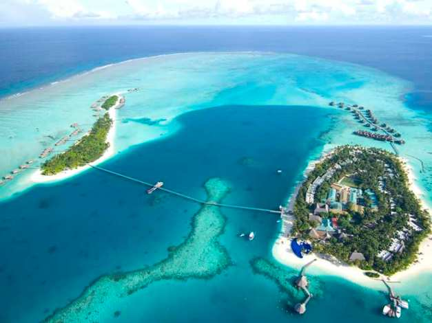 Aerial shot of hotel conrad-maldives-rangali-island