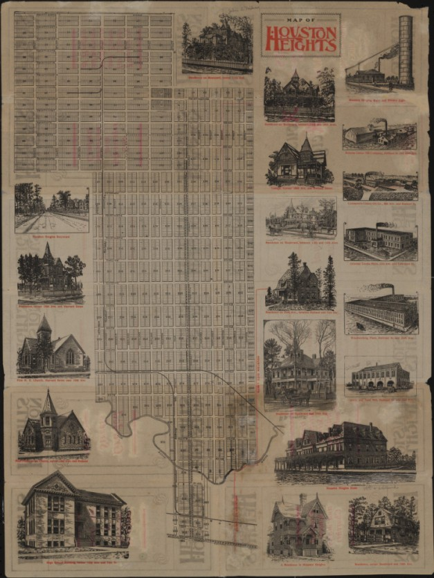 Map of Houston Heights - 1890
