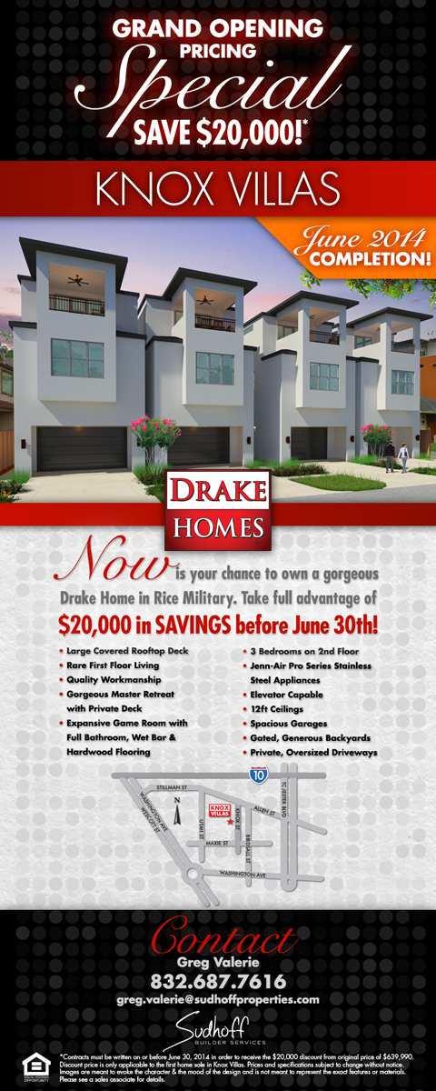 Knox Villas Flyer - Grand Opening Pricing Special
