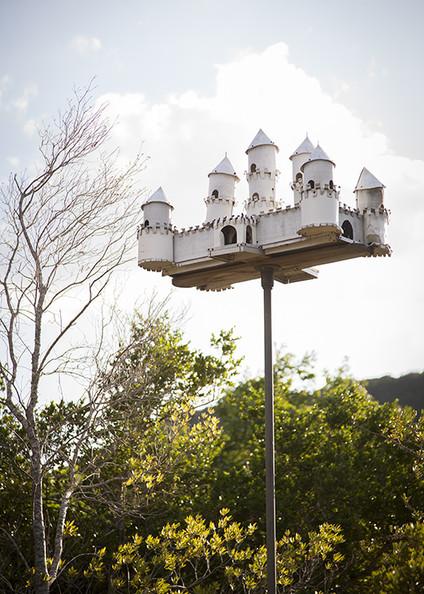 Garden recycled aluminum birdhouse