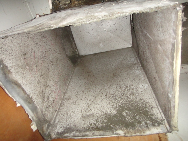Example of duct work which needs cleaning