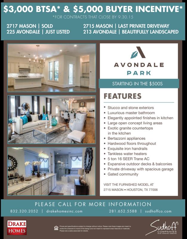 Avondale Park Manor Incentives through 9-30-15