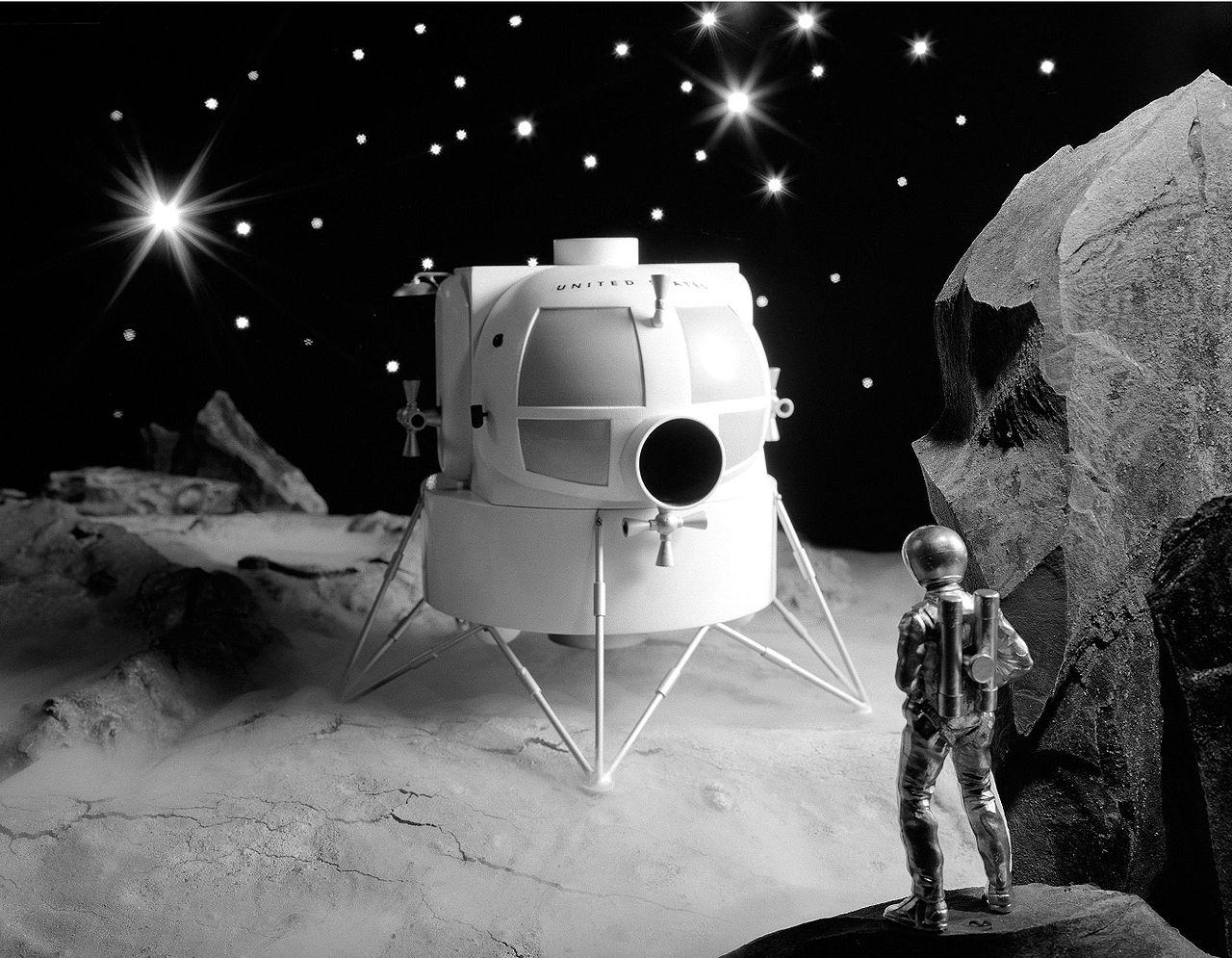 https://en.wikipedia.org/wiki/Moon_landing Image: A 1963 conceptual model of the Apollo Lunar Excursion Module