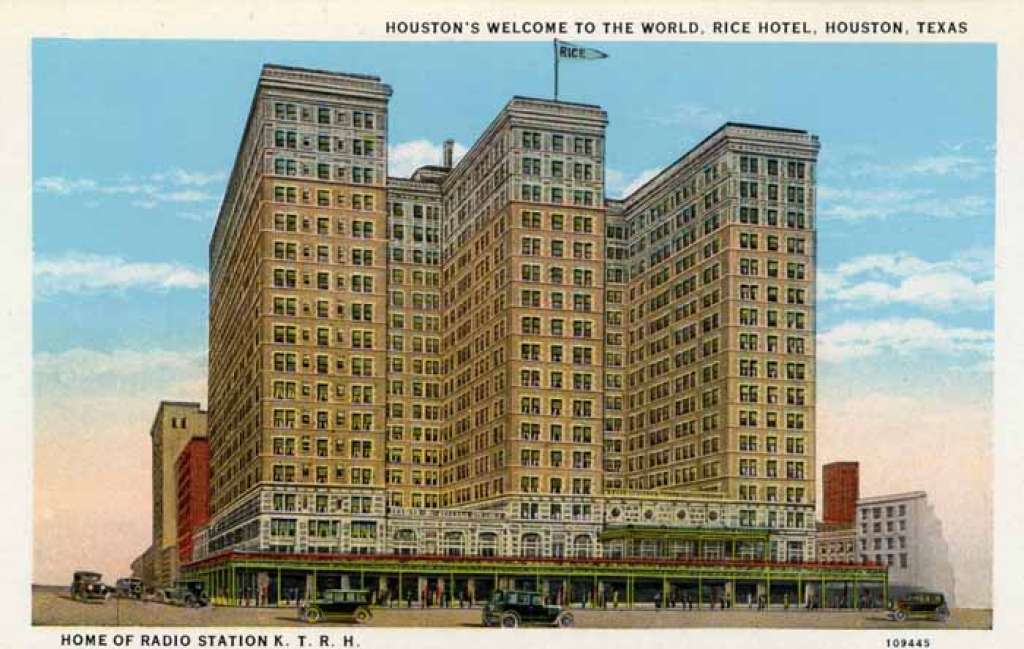 Rice Hotel Houston, TX - vintage postcard