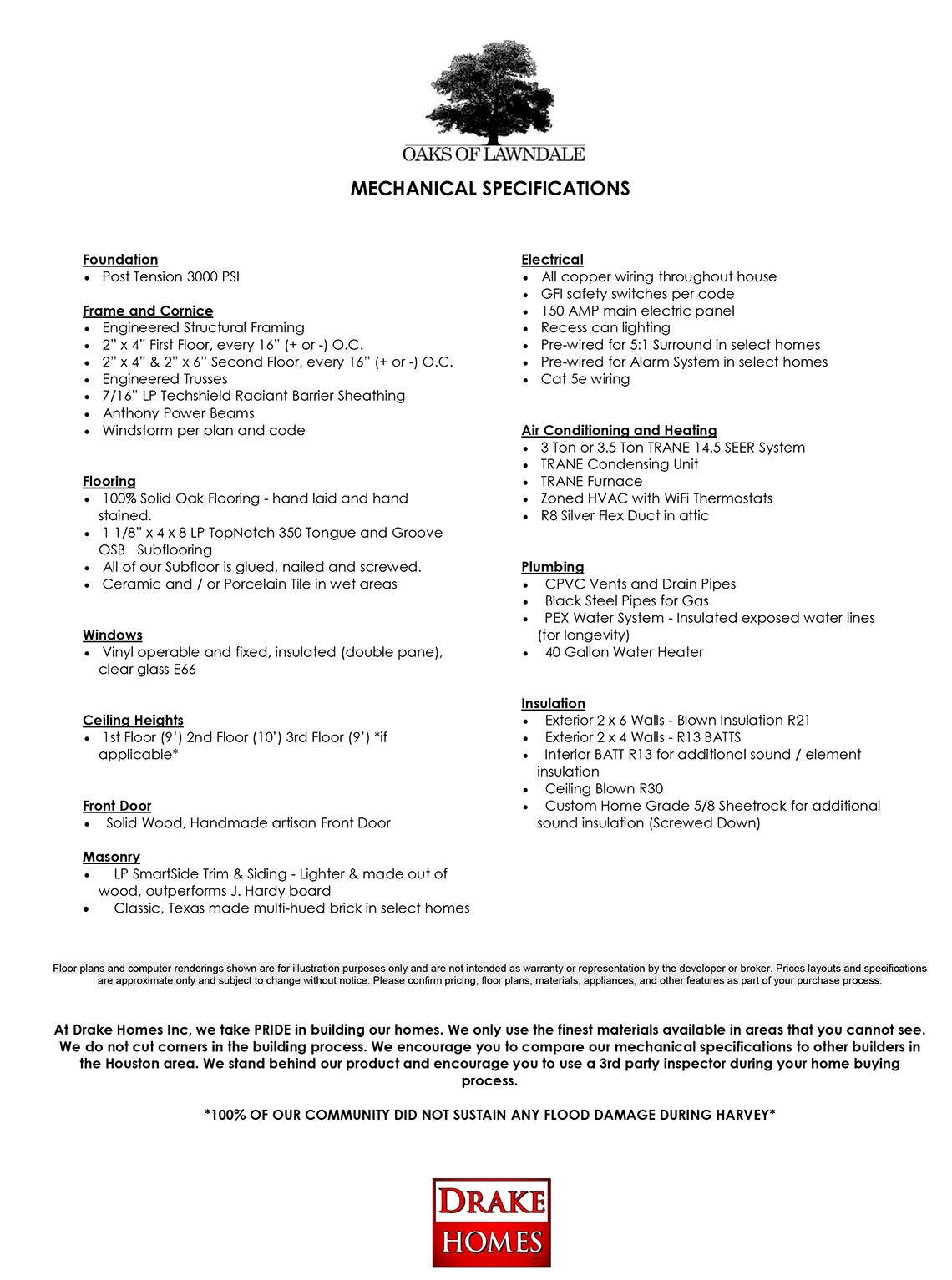 General Mechanical Specifications - Oaks Of Lawndale