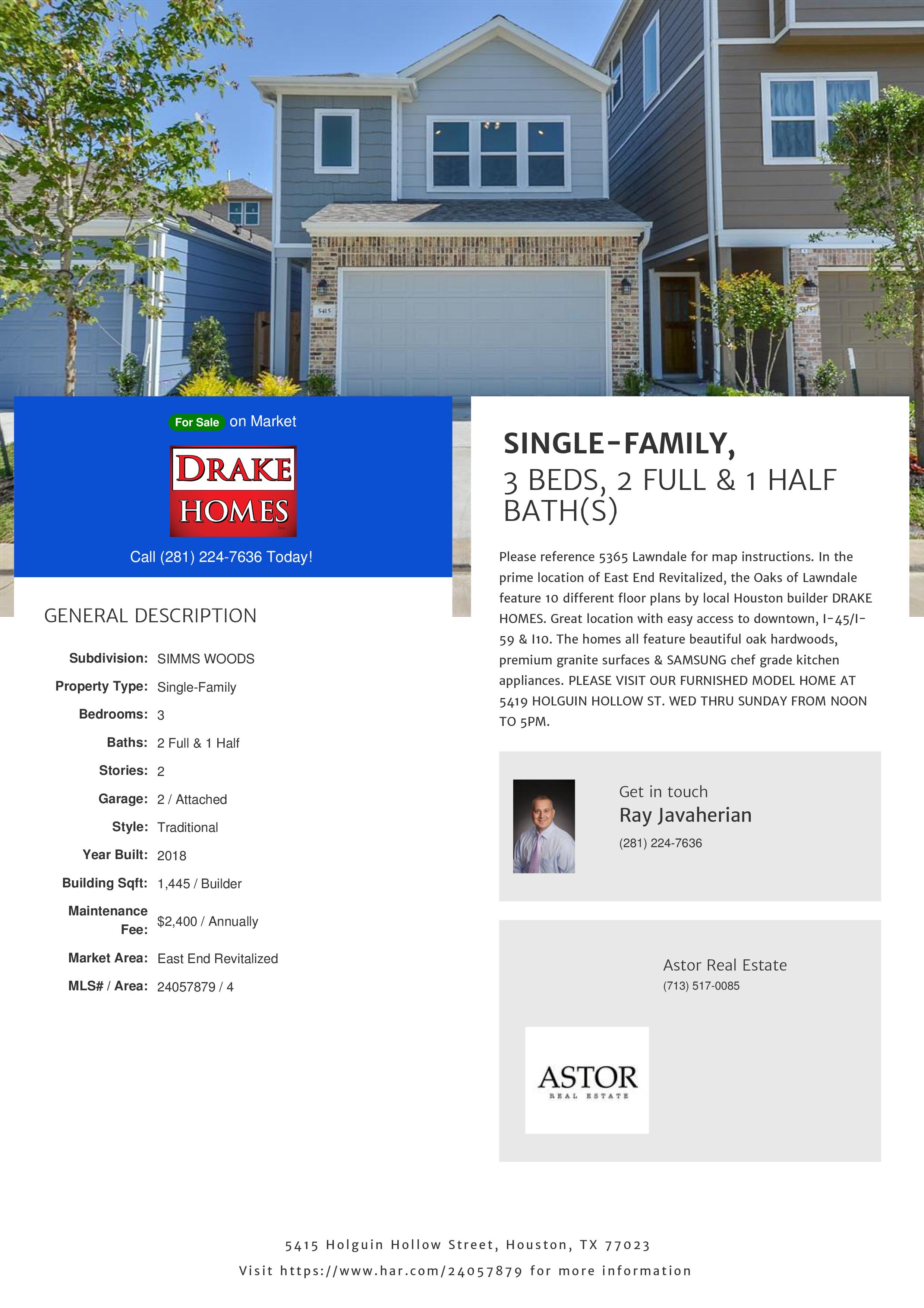 5415 Holguin Hollow Street - HAR.com