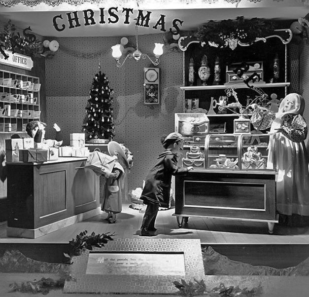 Christmas window display at Foleys in downtown Houston, TX- 1950's.