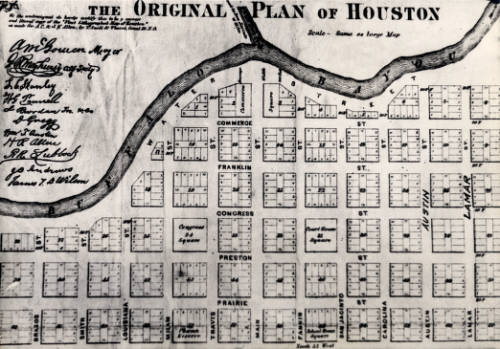 """""""A reproduction of a map created by Gail Borden, who was commissioned by the Allen brothers to produce a map of the city. The """"Original Plan of Houston"""" shows a city hugging Buffalo Bayou with space reserved for a courthouse, churches, and schools."""""""