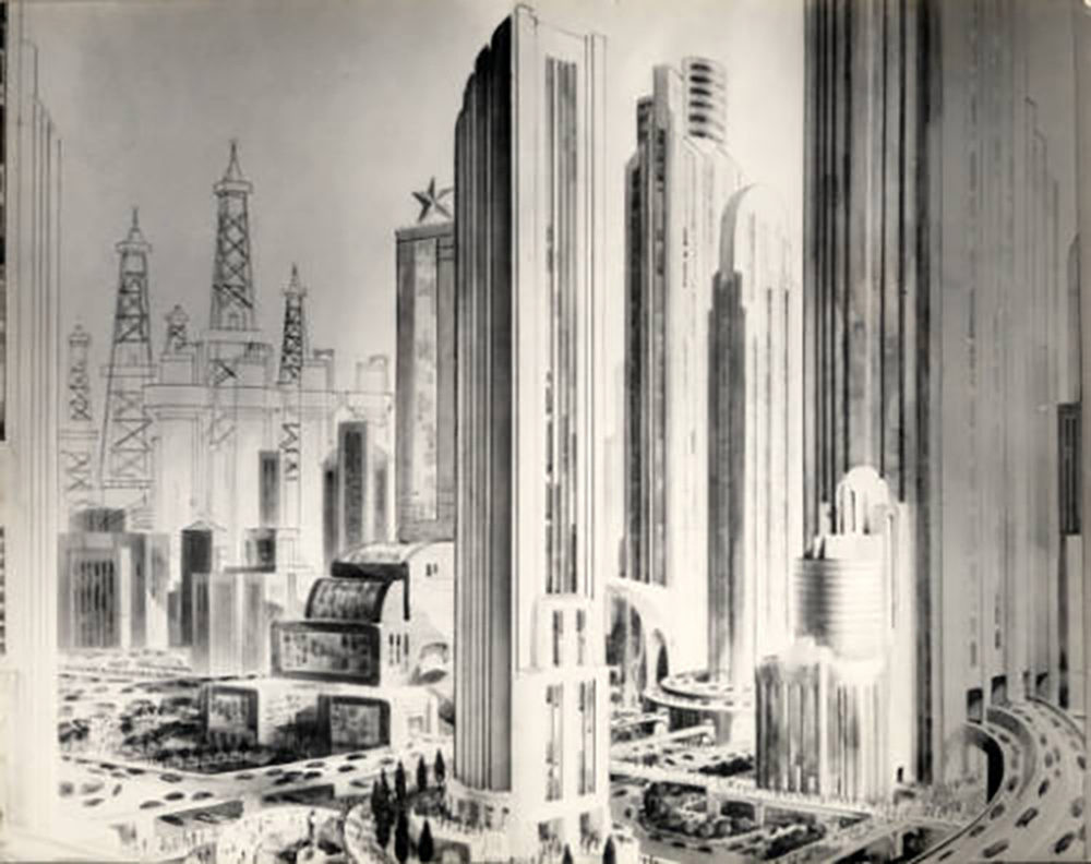 """""""An imaginative painting by an unknown artist in the 1920s or 1930s, depicting a futuristic view of Houston in 1980."""""""