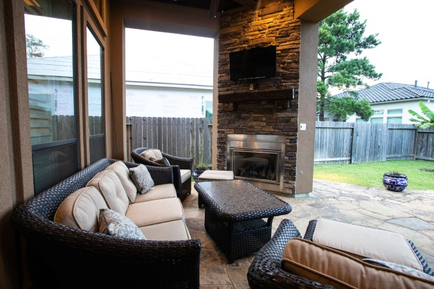 Patio and gas log fireplace