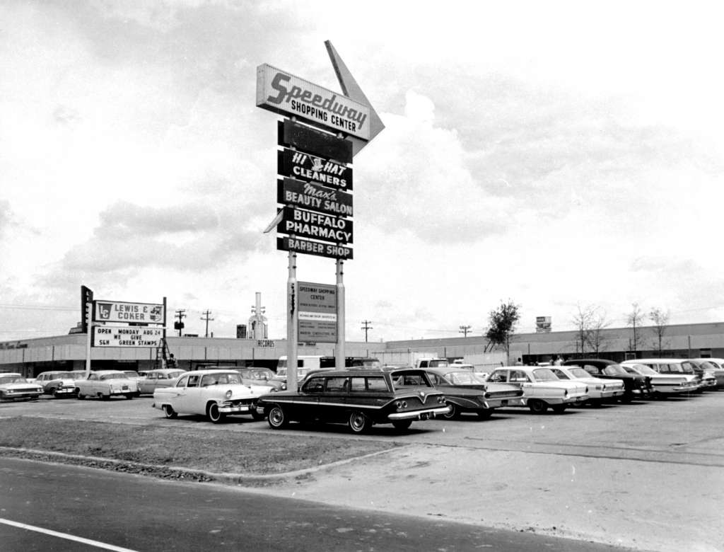 "From the Houston Chronicle ""Then and now: Houston Streets""  August 24, 1964: This pylon stands on Buffalo Speedway north of Bissonnet, marking the location of the newly renovated and enlarged Speedway Shopping Center. Located on a five-acre tract, the center contains 38,000 square feet of floor space and its stores and shops offer a wide variety of merchandise and services."