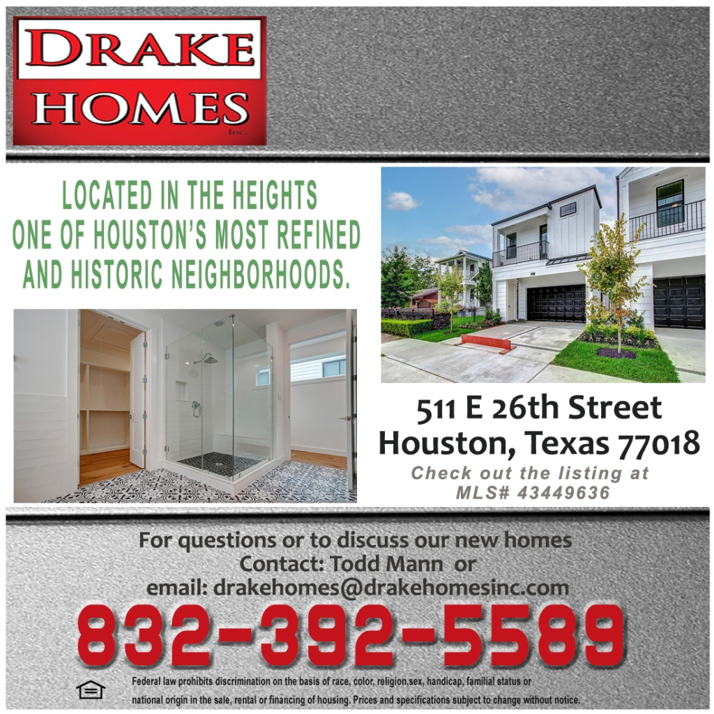 New home construction in Houston Heights.